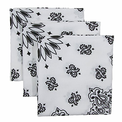 White Bandana 3-Pack - Made in USA For 70 Years - Sold by Vets - 100% Cotton -Sewn Edges - Printed Both Sides