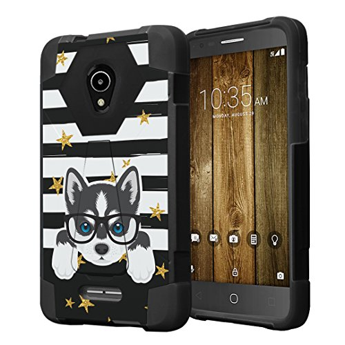 Capsule Case Compatible with Alcatel IdealXcite, Alcatel Verso, Alcatel CameoX, Alcatel Raven LTE, [Hybrid Fusion Dual Layer Shockproof Combat Kickstand Case Black] - (Siberian Husky)