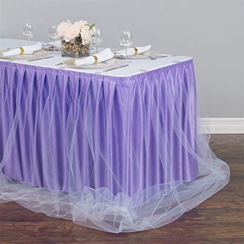 14 Ft Two Tone Tulle Chiffon Table Skirt Lavender White For Wedding Party Banquet Decoration tiffany blue 430cm longX75cm ()