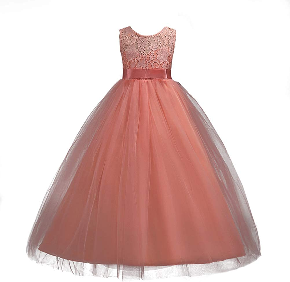 Kids Girls Lace Bridesmaid Dress Party Tulle Wedding Long Dresses Pageant Gown
