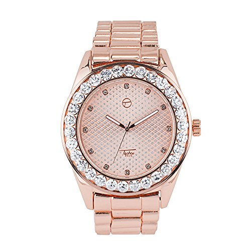 Men's Iced Out Hip Hop Watch with Metal Band and Simulated Diamond Crystals - Rose (Pave Crystal Watch)