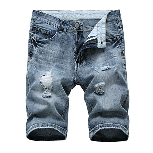 (kaifongfu Pants Mens Hole Zipper Pants Crumple Fit Straight Denim Vintage Style Short Jeans(Navy,S)