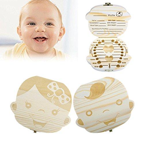 Price comparison product image CozyCabin Baby Teeth Box, Cute Wood Tooth Storage Box Souvenir Box for Kids Boy&Girl (English, Boy)
