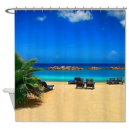angelly playa serie impermeable cortina de ducha (72 x 72)