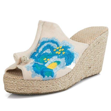 ricamato spesso 37 fondo paglia GTVERNH beige 9cm le 7 scarpe scarpe fresco lino outdoor kogan china di pantofole qaX7waO6