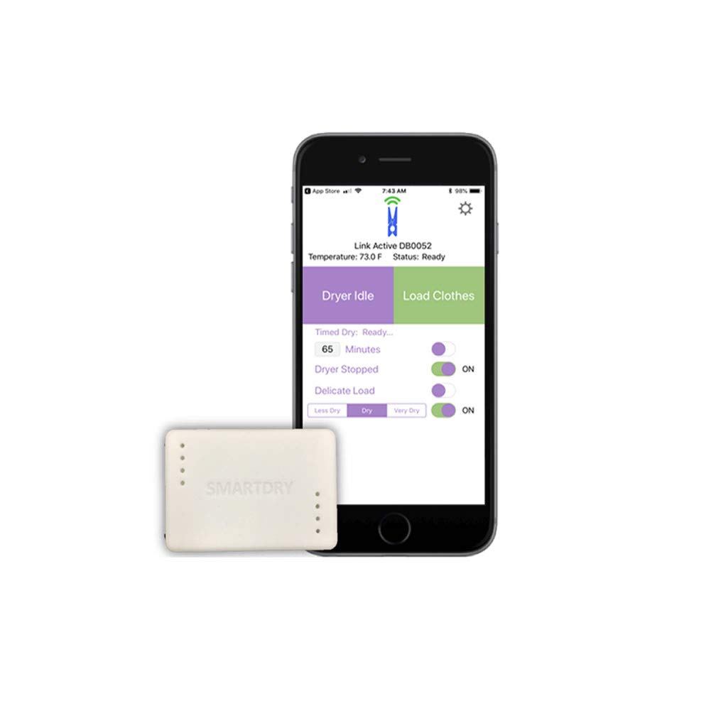 SmartDry Wireless Laundry Sensor for iPhone/Android -Smart Dry Wireless Alerts for Any Clothes Dryer (Gas or Electric) - Wireless Smart Home Clothes Dryer Accessory Connected Life Labs