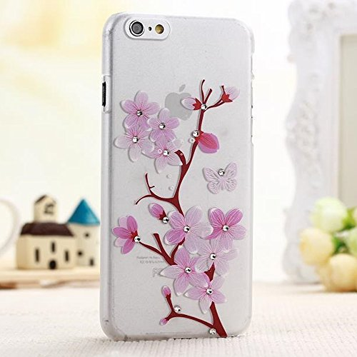 Elfe Boutique iPhone 6 4.7 Soft TPU Clear Case, Sakura Cherry Blossom Ultra-thin Soft Rubber Case with Crystal Decorated for iPhone 6 4.7 + Screen Protector + Earphone Anti Dust Plug Cap + Retail Package