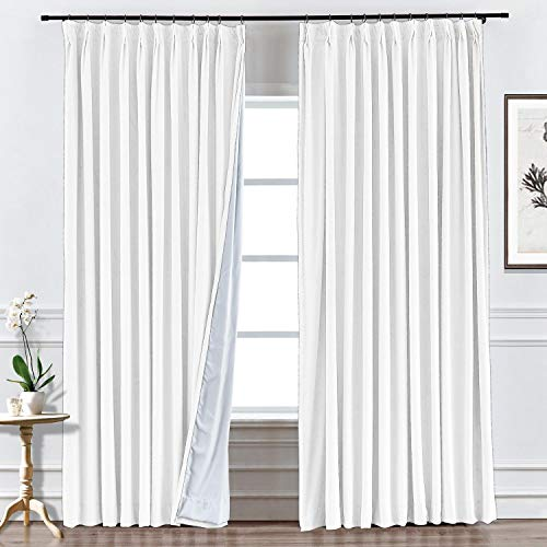 (Prim Blackout White Curtains 84 Inches Long Pinch Pleat Velvet Curtain Room Darkening Window Drapes Thermal Insulated Bedroom Curtain, White Color, 50 by 84 Inch, 1 Panel)
