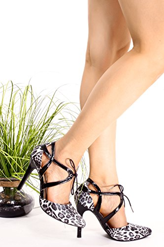 MARILYN MODA GLITTER MATERIAL POINT TOE CUTOUT DESIGN LACE UP STRAP STILETTO HIGH HEELS PUMP SHOES Blackgleopard aQT0F