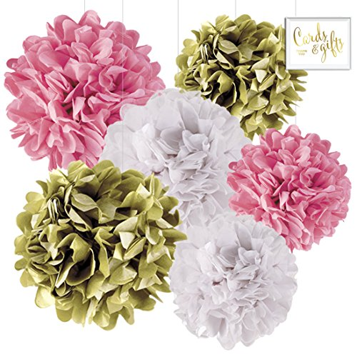 Andaz Press Hanging Tissue Paper Pom Poms Party Decor Trio Kit with Free Party Sign, Gold, Pink, White, 6-Pack, for Girl Baptism Communion Christening Decorations