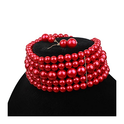 Ufraky Women Elegant Multi Strand Simulated Pearl Choker Necklaces and Earring Set (Red) -
