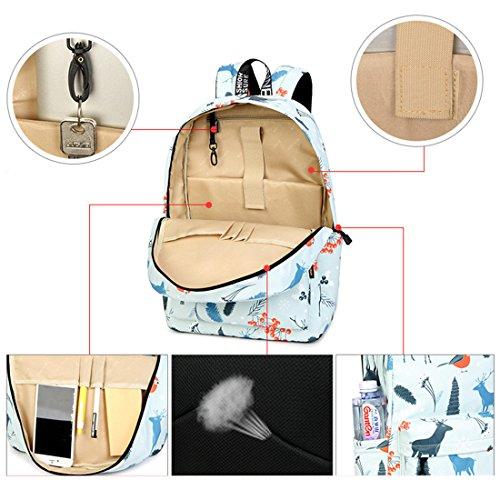 Inwagui Mädchen Schulrucksack Laptop Rucksack Schultaschen Damen Freizeitrucksack aus Polyester Kinderrucksack Schulranzen - Kaktus Hirsch 6iYd9rfv