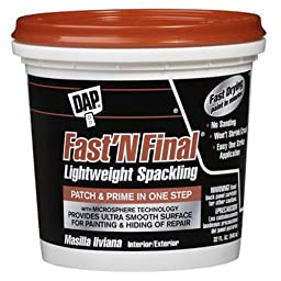 DAP 12142 Fast N Final Interior and Exterior Spackling, 1-Quart Tub