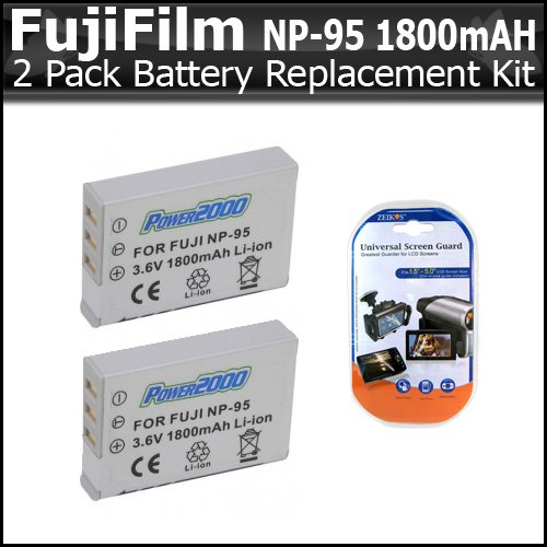 (2 Pack Replacement Extended (1800 mAh) Fujifilm NP-95 Lithium Ion Rechargeable Battery for Fuji F30 and F31fd, Fujifilm X30 Digital Cameras + LCD Screen Protectors )