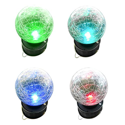 BUENAVO Solar Light For Outdoor Decoration, Hanging Globe Lights With 7 Color Changing, Landscape Lighting for Garden Yard Patio Window Decor, Pack of 4