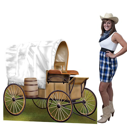 (Shindigz Western Cowboy Wild West Covered Wagon Standee Party Prop Standup Photo Booth Prop Background Backdrop Party Decoration Decor Scene Setter Cardboard Cutout)