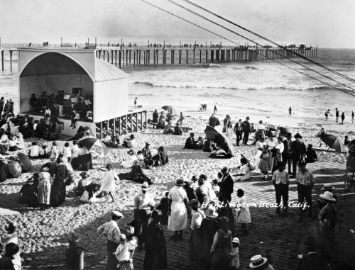 1908 Huntington Beach California Beach Swimmers Photo Photograph- Reprint 8x10