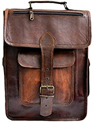 15 Unisex Genuine Leather Briefcase Backpack College,school Picnic Travel Bag