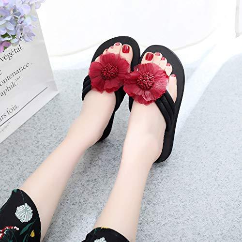 Summer Beach Donna Vovotrade Flowers Flops Flip Da Decored Home Antiscivolo Stivali Slippers Scarpe Vino Ladies Sandali XORxHqR1n