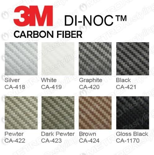 3M CA-1170 DI-NOC GLOSS BLACK CARBON FIBER 4ft x 2ft 8 Sq//ft Flex Vinyl Wrap Film