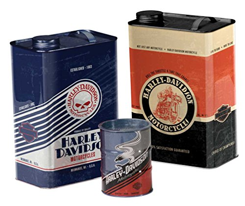 (Harley-Davidson Storage Canister Set, Garage Inspired Shapes, Set of 3)