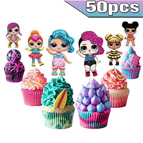 LOL Cake Toppers LOL Cupcake Toppers 50 piezas, LOL Happy Birthday Party Supplies LOL Cake Decorations para niños y…