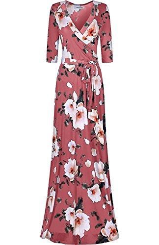 Sleeve Mauve Floral Long Bon Dress Rosy V Floral Bohemian Wrap Neck Women's Maxi t7tpTqzxSw