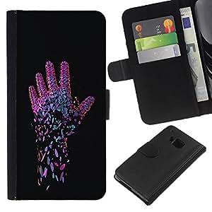BearCase / Cuero de la tarjeta la carpeta del tirón Smartphone Slots Protección Holder /// HTC One M7 /// Neon Pink Mano
