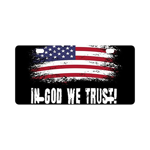 InterestPrint Grunge American Flag with Slogan In God We Trust Metal License Plate Tag Sign Decor for Car Woman Man - 12