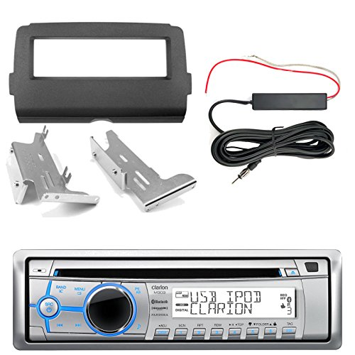 Clarion M303 Marine Single DIN Bluetooth Stereo, Enrock Harley Dash Kit, Hide Away Antenna Booster Kit (Select 2014-Up Harley Davidson)