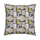 Roostery New York Brownstones Home Architecture Fire Escape Sex And The City Illustration Organic Sateen Throw Pillow Cover Bright Yellow And Pink Pastel by Littlesmilemakers Cover w Optional Insert