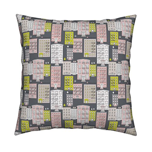Roostery New York Brownstones Home Architecture Fire Escape Sex And The City Illustration Organic Sateen Throw Pillow Cover Bright Yellow And Pink Pastel by Littlesmilemakers Cover w Optional Insert by Roostery