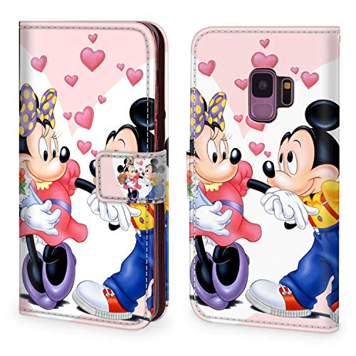DISNEY COLLECTION Phone Wallet Case Fit for Samsung Galaxy S9 5.8 Inch Mickey Mouse and Minnie Love Couple Wallpaper Hd PU Leather