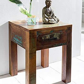 FineBuy Nachttisch DELHI 40 X 40 X 55cm Shabby Chic Recycling Mango Massiv  Holz | Beistelltisch