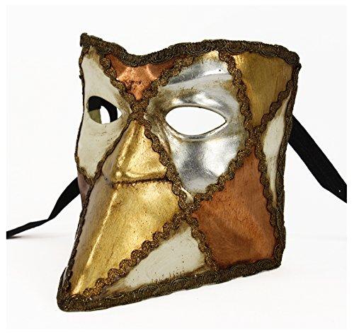 Largemouth Italian Made Venetian Bauta Mask Full Face (Metallics) Commedia Dellarte Mask