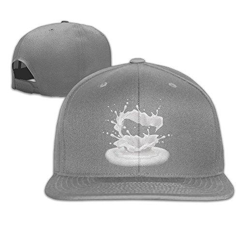 Aiguan Milk Flat Visor Baseball Cap, Designed Snapback Hat Ash