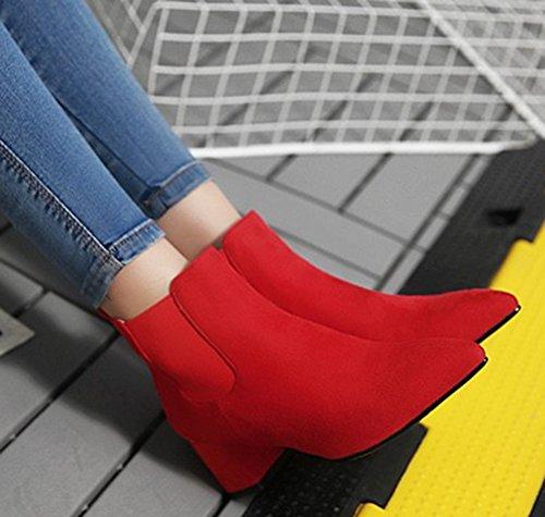 Aisun Kvinners Enkle Dressy Elastiske Spisse Tå Ankelstøvletter Blokkere Midten Hæler Trekke På Booties Røde
