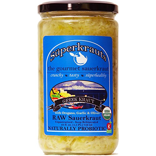 """Greek"" gourmet sauerkraut: organic, raw fermented, unpasteurized, probiotic, kosher, vegan and gluten free. 24 fl. oz, 16 flavors available. No shipping charges with minimum. by Superkrauts"