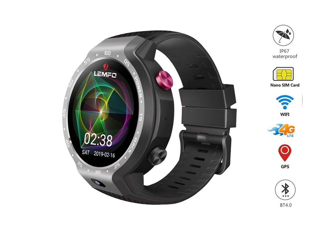 VICCKI LEMFO LEM9 Dual 4G Android 7.1 1.39 Inch 454X454 Display 5MP 600mAh Smartwatch (Gray, One Size)