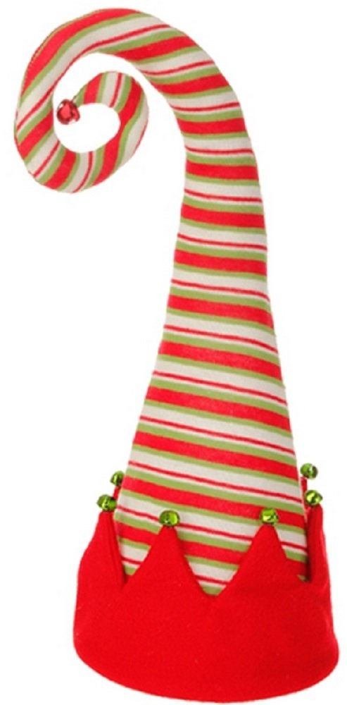 Red Peppermint Striped 18-inch Christmas Elf Hat Holiday Tree Topper