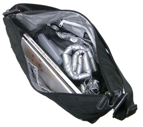 OiOi - Bolso cambiador con forro y accesorios, acabado acolchado, color negro y plateado