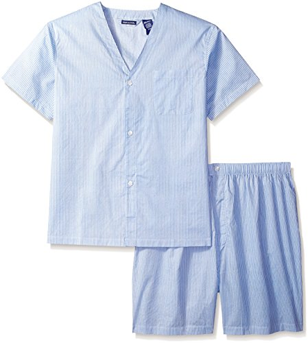 (Fruit of the Loom Men's Long Sleeve Broadcloth Pajama Set, French Blue, XX-Large)