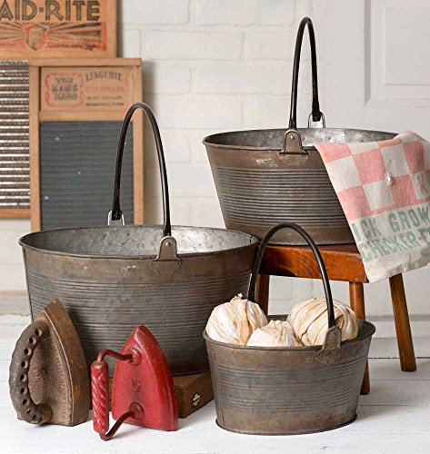 Rustic Set of Three Round Buckets with Handles -