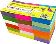 4A Notas adesivas, 3,5 x 4,5 cm, tamanho pequeno, adesivo no lado mais longo, neon sortidas, notas autoadesiva