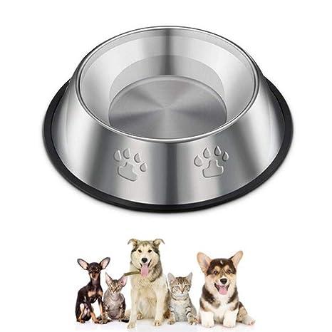 Laat - Comedero para mascotas de acero inoxidable, ideal para perros o gatos