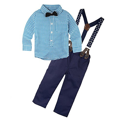 Pants Shirt Match - Angelchild Baby Boys Gentleman Suspenders Plaid Shirt Pants Clothing Set With Bowtie Blue 70,3 - 9 Months,Blue