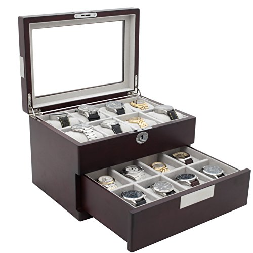 Watch Box Storage For 16 Large Watches Cherry Wood Finish with Engravable Stainless Steel Plate