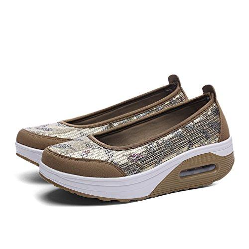 Slip golden Ups Walking Platform Shoes Toning Mesh Sequins On Shape Womens Fitness Sneakers UEw7Opqxxy