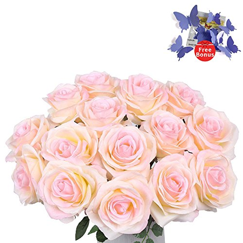 Silk Roses Wedding Flowers - Artificial Flowers AmyHomie Silk Roses Bouquet Home Wedding Decoration Pack of 15 (15, Pink)