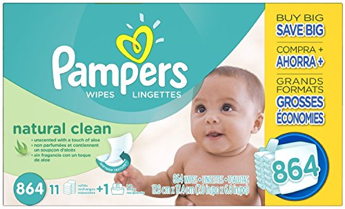Pampers Natural Clean Baby Wipes Unscented 864ct